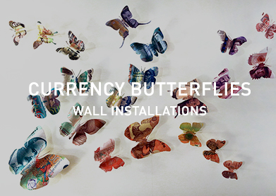 Currency Butterflies Wall Installations